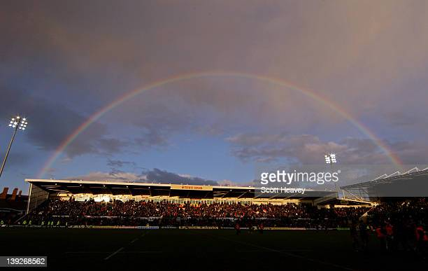 A general view of a rainbow over Franklin's Gardens during the Aviva Premiership match bewteen Northampton Saints and Sale Sharks at Franklin's...