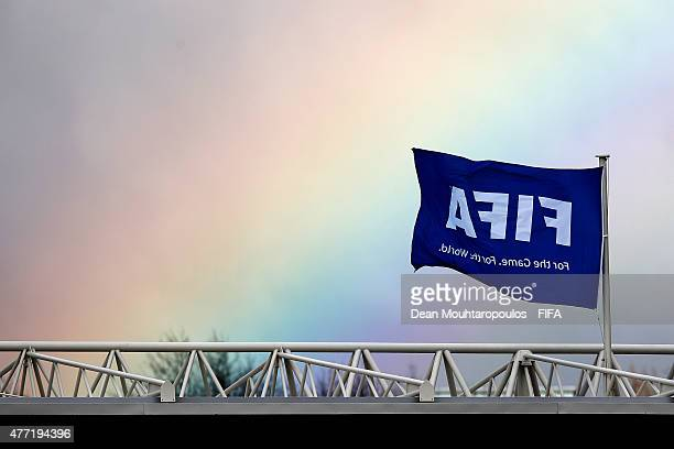 A general view of a rainbow over the game as a FIFA flag waves in the wind during the FIFA U20 World Cup New Zealand 2015 quarter final match between...