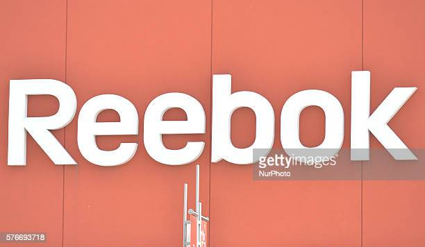 A general view of a Reebok logo seen in South Edmonton Common a retail power centre located in Edmonton Alberta The flagship shopping complex is...