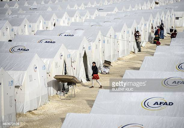 A general view of a refugee camp for Syrian Kurdish refugees on February 2 at Suruc in Sanliurfa AFP PHOTO/BULENT KILIC