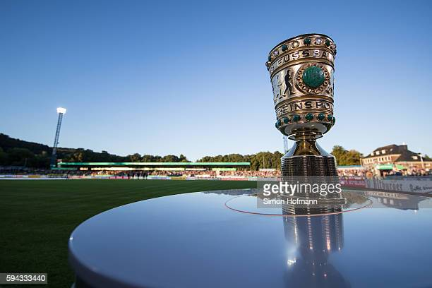 A general view of the trophy prior to the DFB Cup match between Eintracht Trier and Borussia Dortmund at Moselstadion on August 22 2016 in Trier...