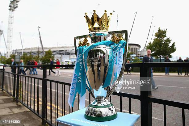 General View of a replica of the Premier League trophy prior to the Barclays Premier League match between Manchester City and Liverpool at the Etihad...