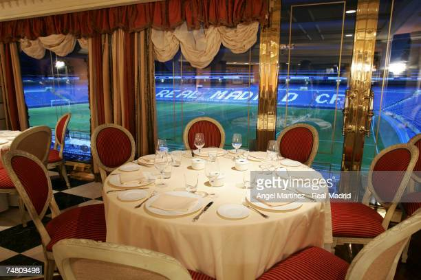 A general view of a restaurant inside Real Madrid's Santiago Bernabeu stadium on July 1 2004 in Madrid Spain