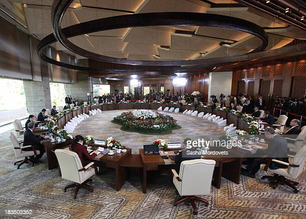 A general view of a retreat meeting at the APEC Leaders Summit on October 7 2013 in Nusa Dua near Denpadsar Bali Indonesia US President Barack Obama...