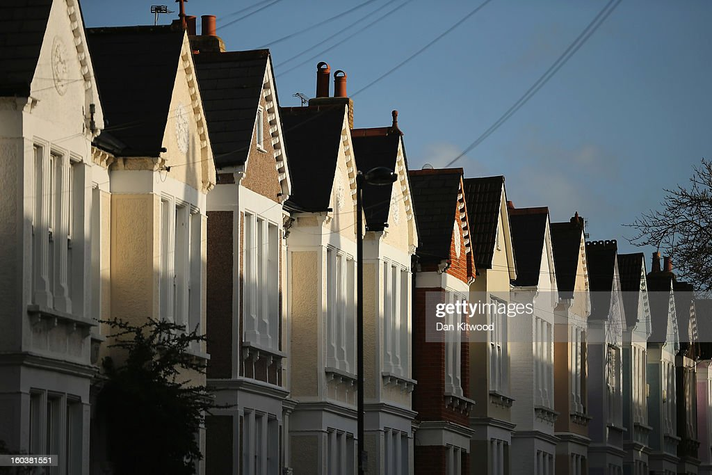 A general view of a row of houses near Clapham on January 30, 2013 in London, England. According to a report from independent analysts Oxford Economics, the average mortgage deposit for first-time buyers in London, is likely to exceed £100,000 GBP by 2020.