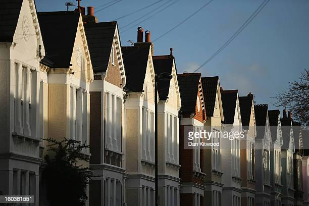 A general view of a row of houses near Clapham on January 30 2013 in London England According to a report from independent analysts Oxford Economics...