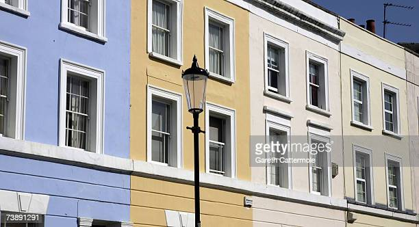 A general view of a row of houses off Portobello Road in Notting Hill in London on April 15 2007 in London