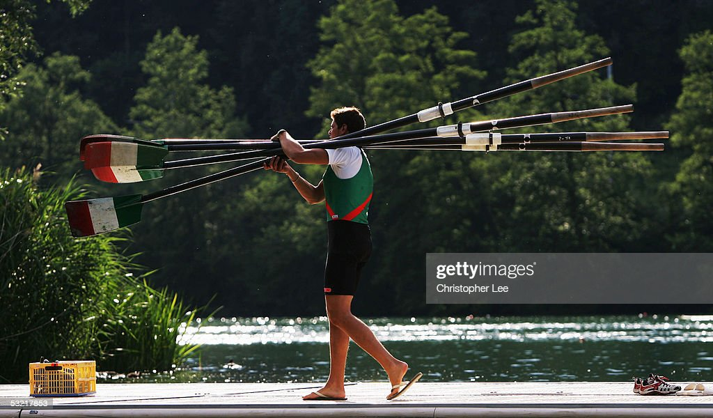 General view of a rower carrying Italian Oars after their practice session during the Bearing Point Rowing World Cup Day 2 on the Rotsee on July 9, 2005 in Lucerne, Switzerland.