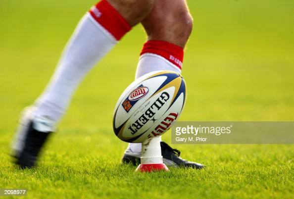 General view of a Rugby League ball on a kicking tee during the Tetleys Super League match between St Helens and Wigan Warriors held on June 6 2003...