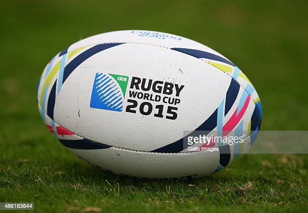 General view of a Rugby World Cup ball during the South African national rugby team training session at Peoples Park on September 01 2015 in Durban...