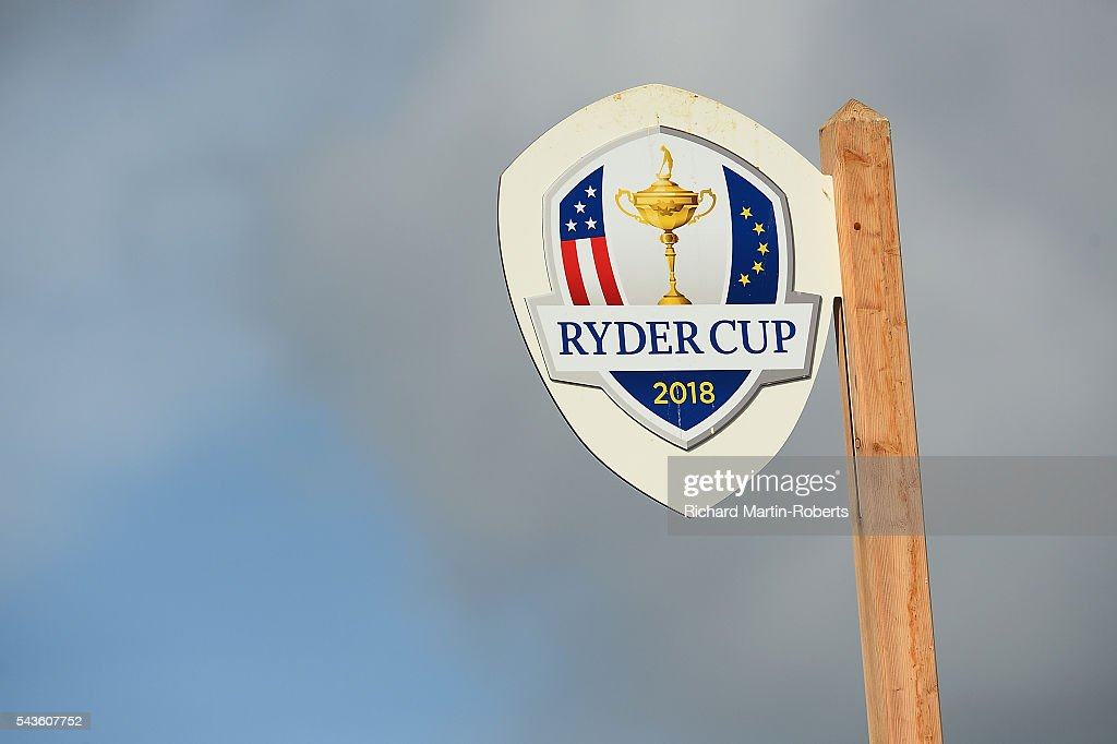 General View of a Ryder Cup 2018 sign during a pro-am round ahead of the 100th Open de France at Le Golf National on June 29, 2016 in Paris, France.