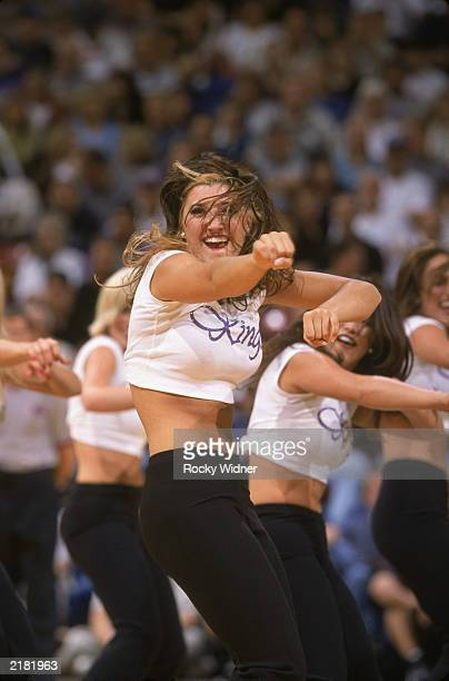 A general view of a Sacramento Kings cheerleader performs during the preseason NBA game against the Dallas Mavericks on October 14 2001 at the ARCO...