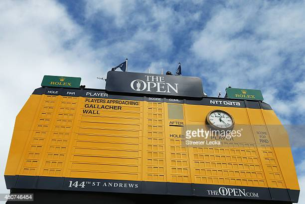A general view of a scoreboard during practice ahead of the 144th Open Championship at The Old Course on July 15 2015 in St Andrews Scotland