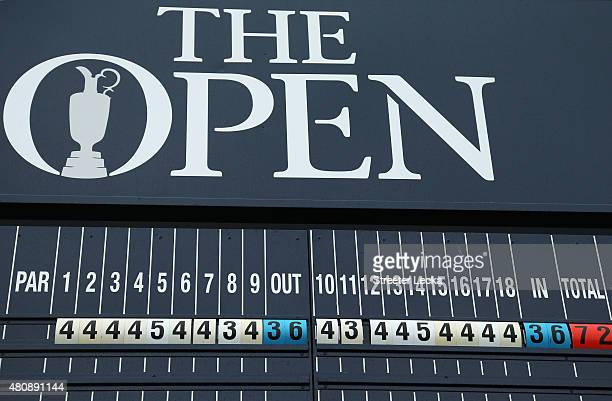 A general view of a scoreboard during the first round of the 144th Open Championship at The Old Course on July 16 2015 in St Andrews Scotland