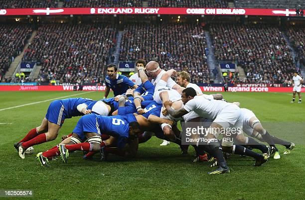 A general view of a scrum as Dan Cole and Chris Robshaw of England drive on during the RBS Six Nations match between England and France at Twickenham...