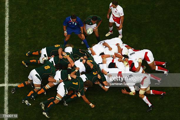 A general view of a scrum during the 2007 Rugby World Cup Final between England and South Africa at the Stade de France on October 20 2007 in...
