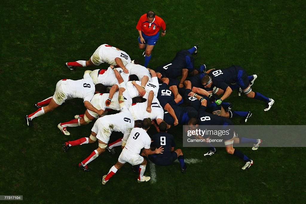 General view of a scrum during the Rugby World Cup 2007 Semi Final match between England and France at the Stade de France on October 13 2007 in...