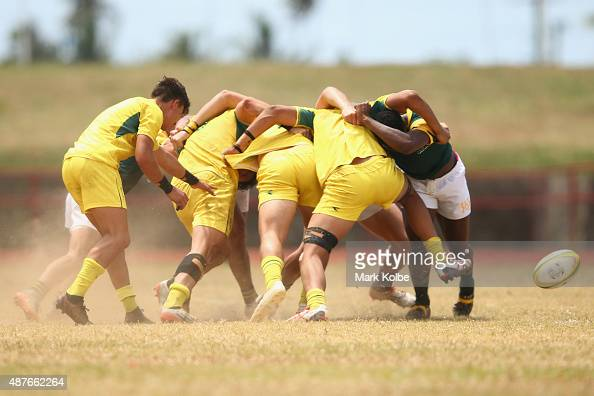 A general view of a scrum is seen during the boys rugby sevens final beteween South Afrcia and Australia at the Apia Park Sports Complex on day five...