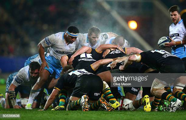 A general view of a scrummage during the European Rugby Champions Cup pool three match between Northampton Saints and Glasgow Warriors at Franklin's...