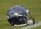A general view of a Seattle Seahawks helmet prior to a game against the Kansas City Chiefs on November 16 2014 at Arrowhead Stadium in Kansas City...