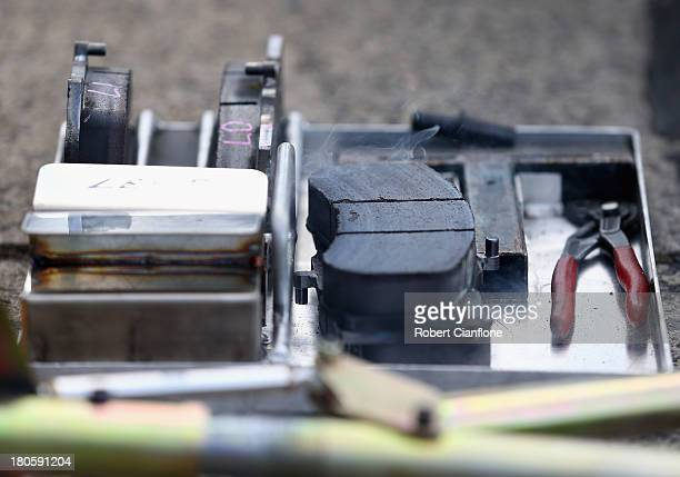 A general view of a set of brake pads during the warm up session for the Sandown 500 race 28 which is round 10 of the V8 Supercar Championship Series...