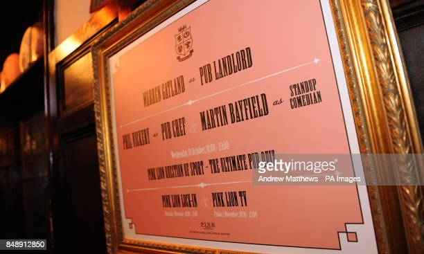 General view of a sign advertising the Staff of Warren Gatland Phil Vickery and Martin Bayfield at the Pink Lion Pub London