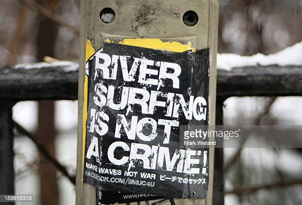 A general view of a sign at the Eisbach in the English Garden on January 19 2013 in Munich Germany The manmade wave at the Eisbach which has been...