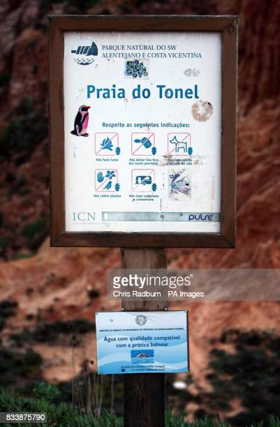 General view of a sign at the Tonel beach at the village of Sagres Portugal where three Britons lost their lives trying to save a group of children...