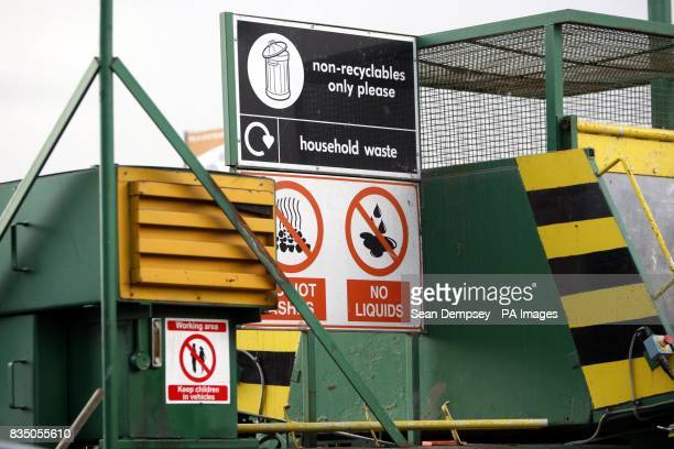 General view of a sign for nonrecyclables and household waste no hot ashes and no liquids at the Springfield Recycling Plant in Chelmsford Essex