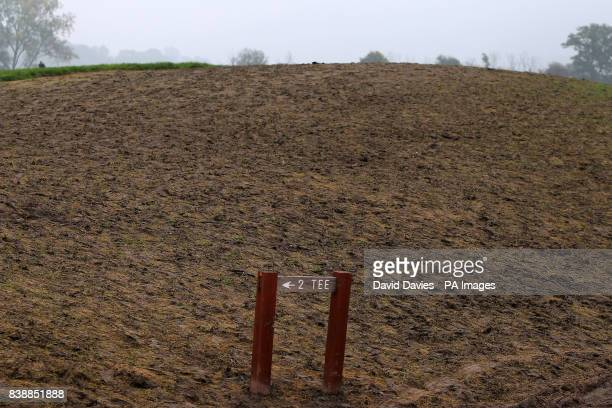 General view of a sign for the 2nd tee surrounded by mud on the Twenty Ten Course at Celtic Manor a few days after the Ryder Cup