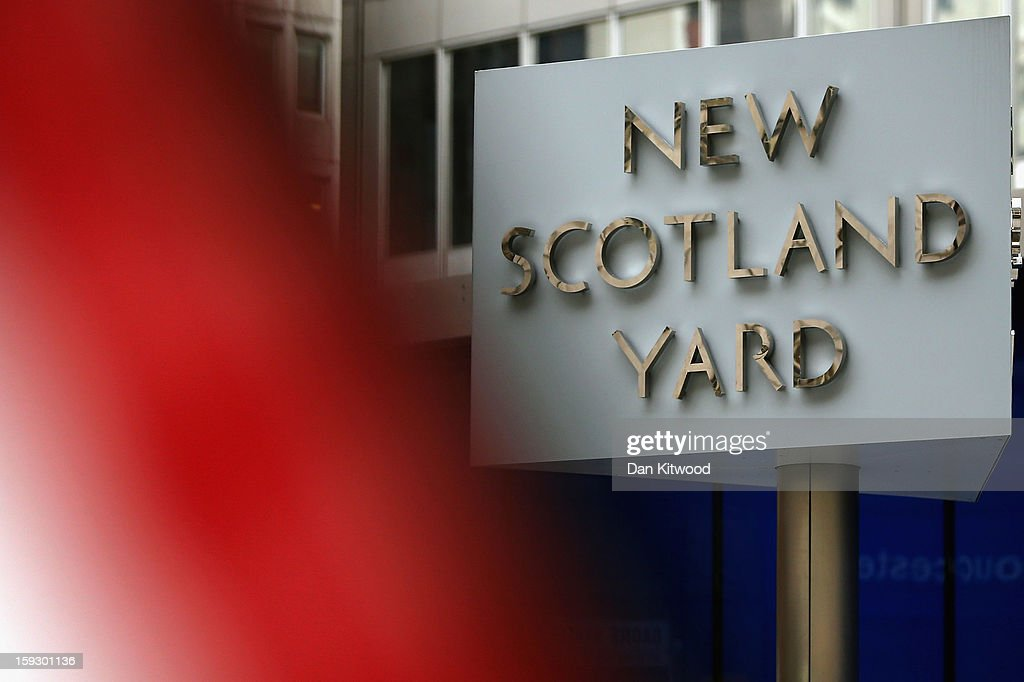 A general view of a sign outside New Scotland Yard after a report into the sexual allegations of the late TV star Jimmy Savile was released on January 11, 2013 in London, England. The report by the Metropolitan police and NSPCC on Jimmy Savile gives details the scale of his sexual abuse of children from 1955 to 2009.