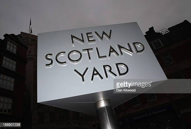 A general view of a sign outside New Scotland Yard after a report into the sexual allegations of the late TV star Jimmy Savile was released on...