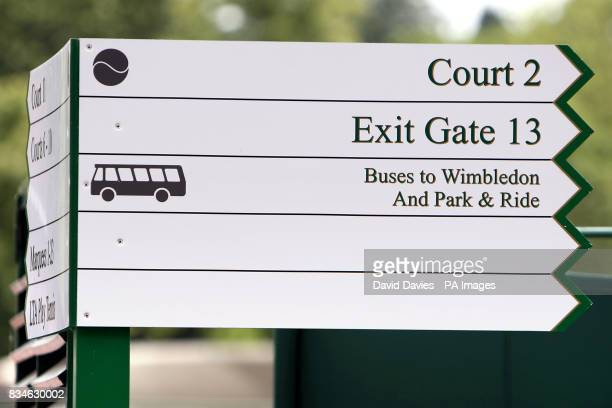 General view of a sign showing directions to Court No2