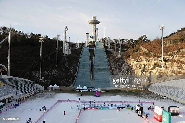 A general view of a ski jump slope during the FIS Snowboard World Cup 2016/17 at Alpensia Ski Jumping Center on November 25 2016 in Pyeongchanggun...
