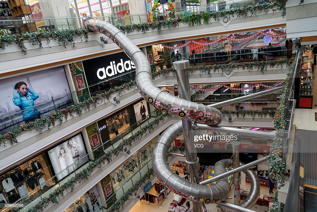 General view of a slide built in a five-storey shopping mall on February 13, 2016 in Shanghai, China. The slide will be open to the public at the end of February 2016.