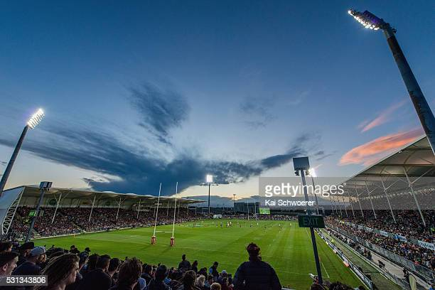 A general view of a sold out AMI Stadium during the round 10 NRL match between the Penrith Panthers and the New Zealand Warriors at AMI Stadium on...