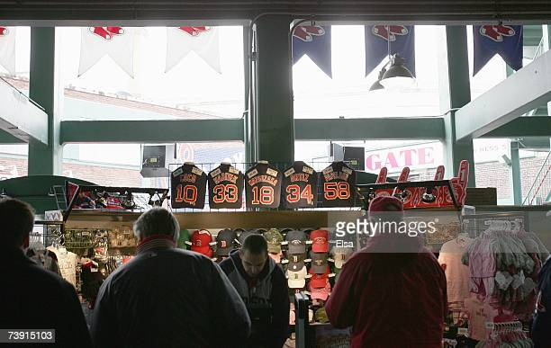 A general view of a souvenir stand selling team shirts and hats in Fenway Park taken during Opening day between the Boston Red Sox and the Seattle...