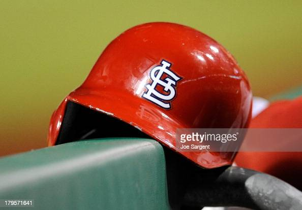 General view of a St Louis Cardinals batting helmet against the Pittsburgh Pirates on August 31 2013 at PNC Park in Pittsburgh Pennsylvania
