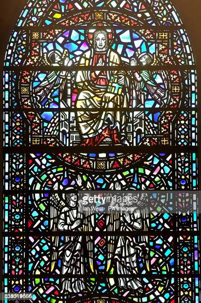 General view of a stained glass window at The Temple Church in the City of London