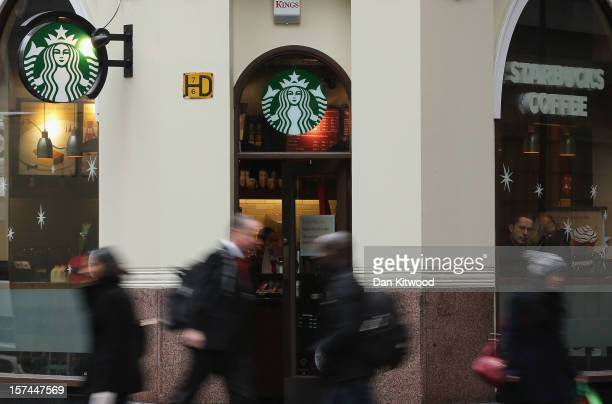 A general view of a Starbucks coffee shop on December 3 2012 in London England The coffee chain has announced that it is looking to pay more tax...