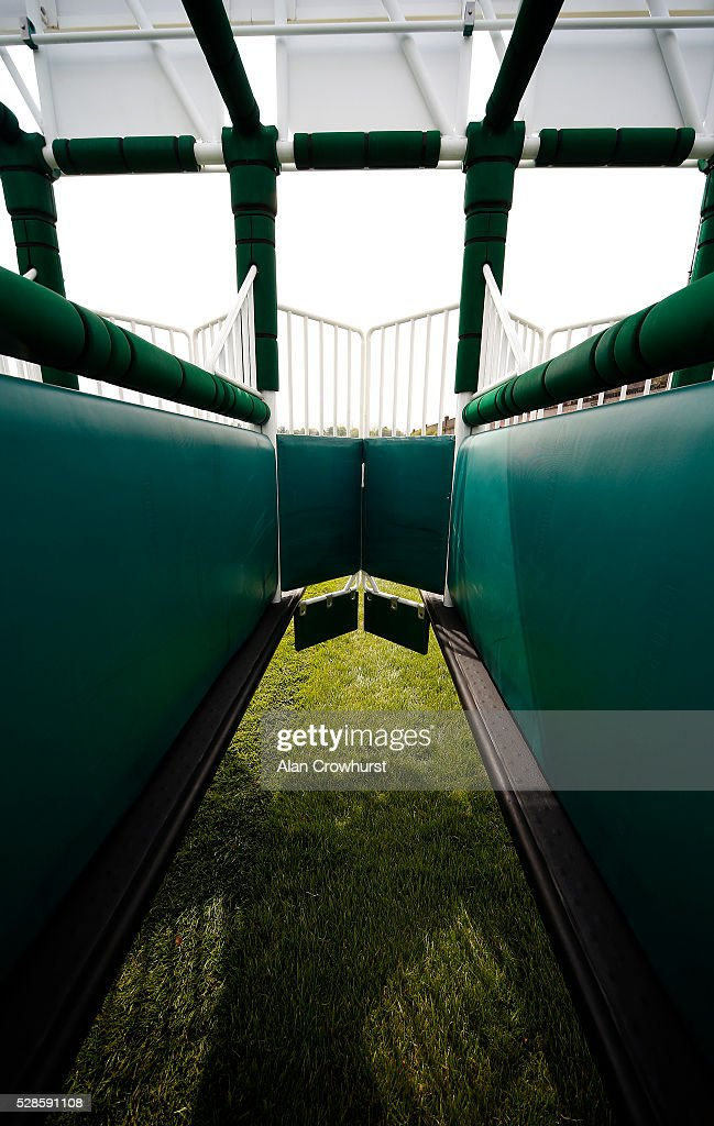 A general view of a starting stall at Chester racecourse on May 6, 2016 in Chester, England.