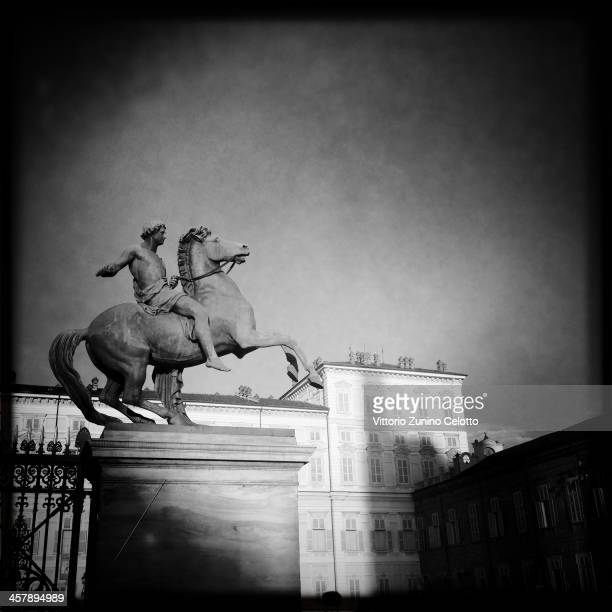 A general view of a statue in front of the Royal Palace of Turin on December 18 2013 in Turin Italy Turin is the capital of the Piedmont region First...
