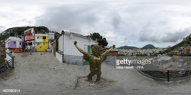 A general view of a statue in Santa Marta favela dedicated to Michael Jackson who once filmed part of a video there on July 11 2014 in Sao Paulo...