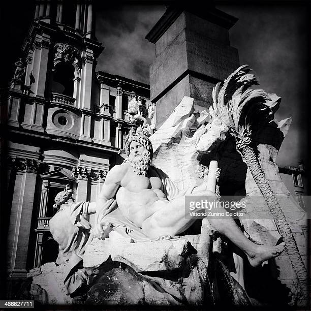 A general view of a statue of the Fountain of the Four Rivers by Gian Lorenzo Bernini in Piazza Navona on January 26 2014 in Rome Italy