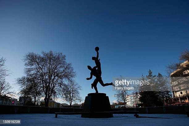 A general view of a statue outside the FC Shinnik Yaroslavl stadium on November 15 2011 in Yaroslavl Russia The capacity of the stadium will be...