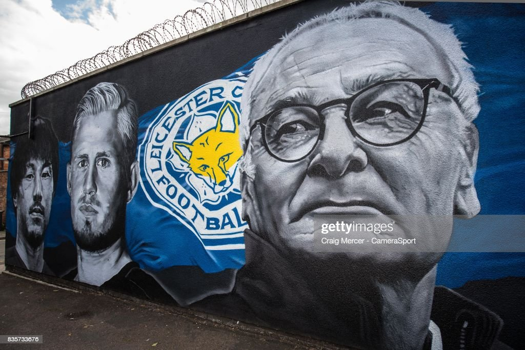A general view of a street mural showing Claudio Ranieri, Leicester City's Manager from the team's Premier League title winning season during the Premier League match between Leicester City and Brighton and Hove Albion at The King Power Stadium on August 19, 2017 in Leicester, England.