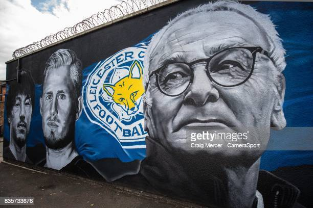 A general view of a street mural showing Claudio Ranieri Leicester City's Manager from the team's Premier League title winning season during the...