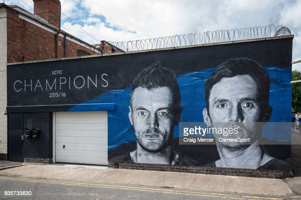 A general view of a street mural showing Leicester City's Jamie Vardy and Andy King from the team's Premier League title winning season during the...