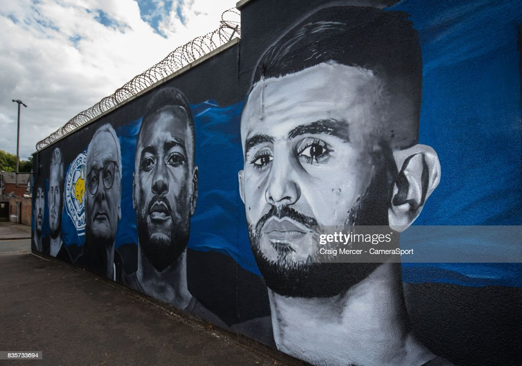A general view of a street mural showing Leicester City's Riyad Mahrez alongside team mates from the team's Premier League title winning season during the Premier League match between Leicester City and Brighton and Hove Albion at The King Power Stadium on August 19, 2017 in Leicester, England.