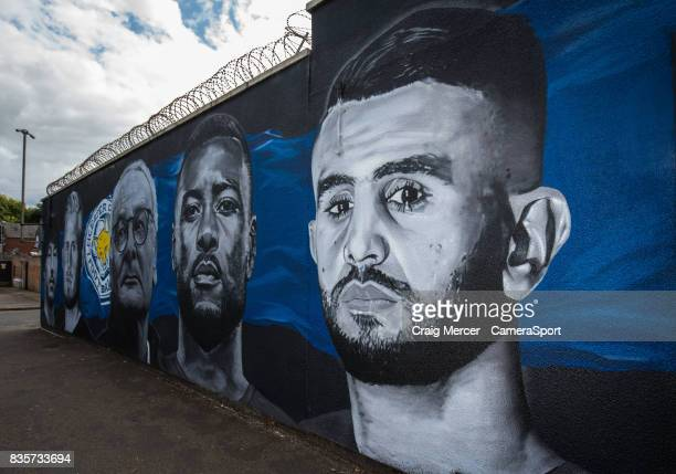 A general view of a street mural showing Leicester City's Riyad Mahrez alongside team mates from the team's Premier League title winning season...